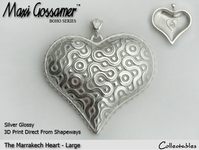 Marrakech Heart Pendant - Large in Polished Silver