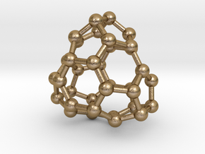 0041 Fullerene c36-13 d3h in Polished Gold Steel