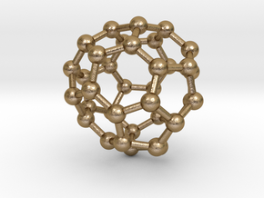 0042 Fullerene c36-14 d2d in Polished Gold Steel