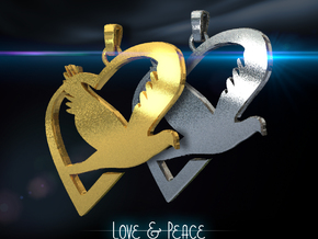 Love & Peace Pendant in Polished Silver