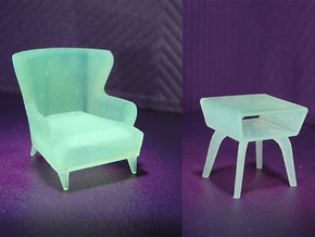 1:48 Wingback Chair Set in Frosted Ultra Detail