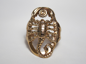 Scorpion Ring Size 6.5 in Polished Bronze