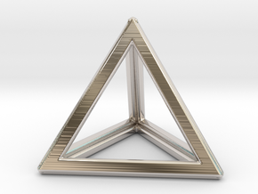TETRAHEDRON (Platonic) in Rhodium Plated