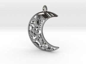 Moon Pendant in Polished Silver