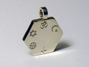 Statement for Peace: Hindu pendant in Polished Silver