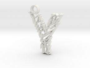 """Sketch """"Y"""" Pendant in White Strong & Flexible"""