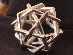 Six Tangled Pentagons in Polished Silver