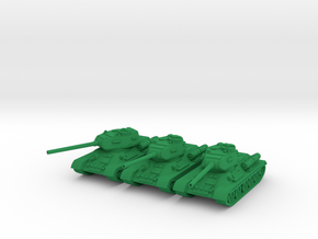 1/100 T-34-85 tank in Green Strong & Flexible Polished