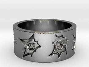 Outlaw Bullet Holes Ring Size 10 in Polished Silver