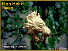 Lion Head Pendant in Stainless Steel