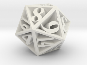 20 Sided Die in White Strong & Flexible