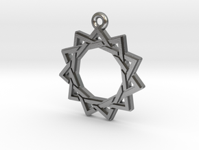"""Hendecagram 3.0"" Pendant, Cast Metal in Raw Silver"