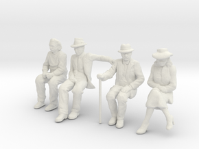 4 seated Low Res 1/32nd Scale figures in White Strong & Flexible
