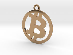 Bitcoin Pendant in Polished Brass