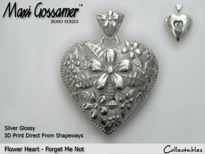 Flower Heart Pendant - Forget-Me-Not in Polished Silver