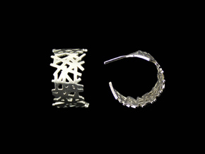 Lines Hoop Earrings in Polished Silver