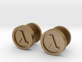 Half-Life Lambda Cufflink in Polished Gold Steel