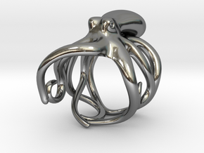 Octopus Ring 20mm in Polished Silver