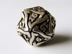 'Twined' Dice D20 Gaming Die (24 mm) in Stainless Steel