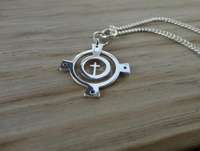 Encircled Cross in Rhodium Plated
