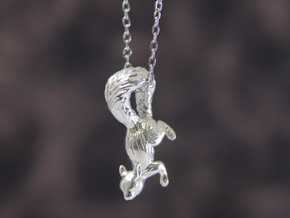 Squirrel Pendant in Polished Silver