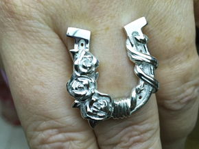 Luck N Roses Ring in Polished Silver