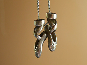 Dance Ballet Slippers Necklace in Stainless Steel