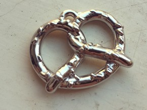 "Pretzel Pendant 1"" in Rhodium Plated"