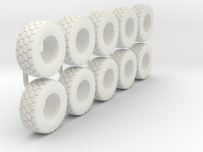 1/64 Wheel loader tires in White Strong & Flexible