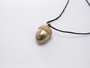Acorn Pendant in Polished Gold Steel