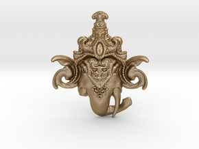 Lord Ganesha Head Pendant  (small) in Matte Gold Steel