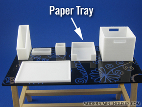 Office: Paper Tray 1:12 scale in White Strong & Flexible Polished