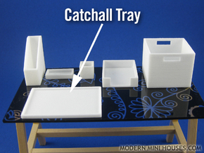 Office: Catchall Tray 1:12 scale in White Strong & Flexible Polished