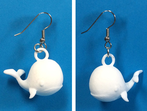 Whale Earrings in White Strong & Flexible Polished