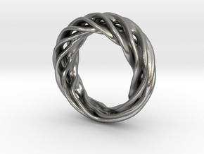 Fluid Wave Ring in Raw Silver