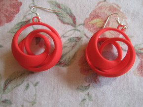 Coil 2 3 3 Earrings in Red Strong & Flexible Polished