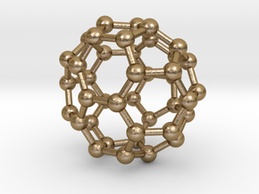 0149 Fullerene C40-37 c2v in Polished Gold Steel