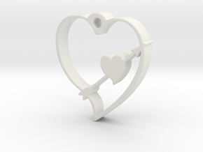 Cupid's Shot Heart Pendant  in White Strong & Flexible