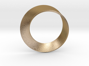 0153 Mobius strip (p=1, d=5cm) #001 in Polished Gold Steel