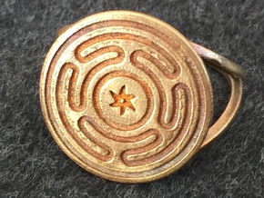 Wheel of Hecate ring (choose size) in Raw Bronze