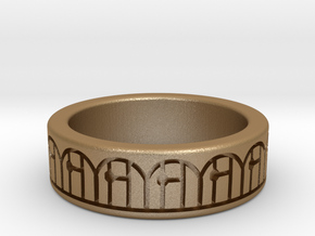 3D Printed Harmony Ring Size 7 by bondswell3D in Matte Gold Steel