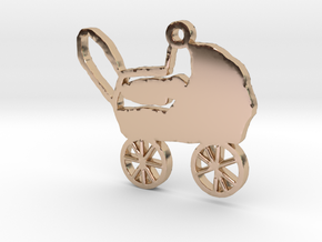 Baby Carriage Necklace Pendant in 14k Rose Gold Plated
