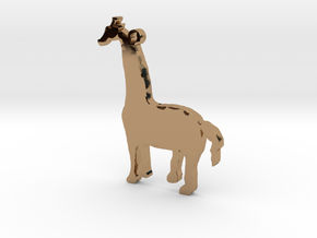 Giraffe Necklace Pendant in Polished Brass