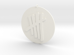 Tally Mark Emblem 2 Inch Pendant in White Strong & Flexible Polished
