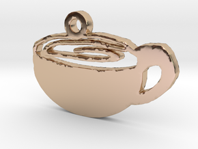 Coffee Cup Necklace Pendant in 14k Rose Gold Plated