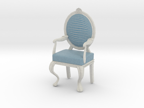 1:12 Scale Blue Gingham/White Louis XVI Chair in Full Color Sandstone