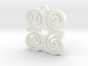 Adinkra Collection: Dwannimmen - The Strength Pend in White Strong & Flexible Polished