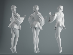 Skirt Girl-001 scale 1/10 in White Strong & Flexible