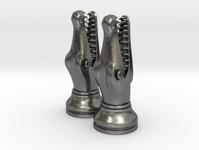 Pair Chess Crocodile Big / Timur Luxm Sea-Monster in Polished Nickel Steel
