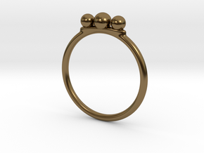 Tri Beaded Stacking Ring in Polished Bronze